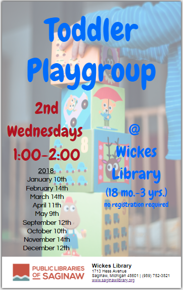 Toddler Playgroup 2nd Wednesdays @ 1:00 September-May