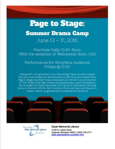 Image for Page to Stage: Summer Drama Camp at Zauel Memorial Library