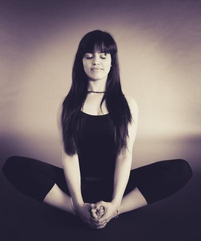 woman in Sukhasana pose