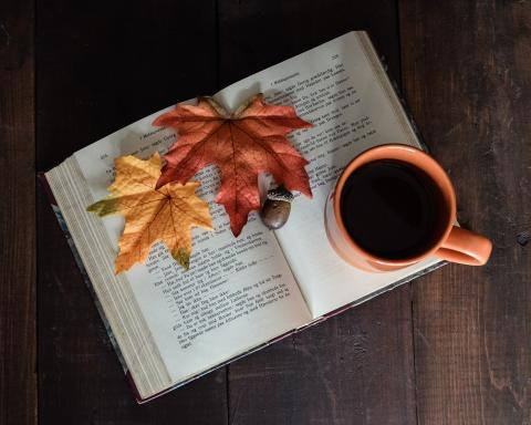 Photo of book with fall leaves and mug of coffee.