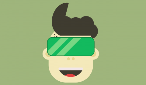 Tween with virtual reality goggles on his face.